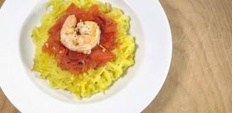 Spaghetti Squash with Roasted Tomatoes and Shrimp Recipe from domesticsoul.com